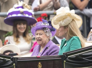 Ladies day at Ascot: Queen Elizabeth arrive by carriage with Autumn Phillips