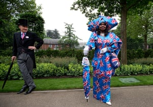 Ladies day at Ascot: Genie Williams dressed in a union jack dress