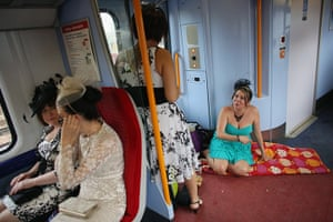 Ladies day at Ascot: Racegoers travel by train from Waterloo station