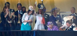 One is a winner! The Queen, family members and her racing team watch her horse 'Estimate' win The Gold Cup at Royal Ascot. It's the first time the race has been won by a reigning monarch.