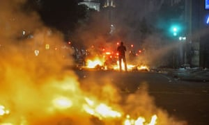 Bonfires lit by demonstrators in Rio.