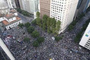 Huge crowds of demonstrators march in Rio de Janeiro, Brazil.