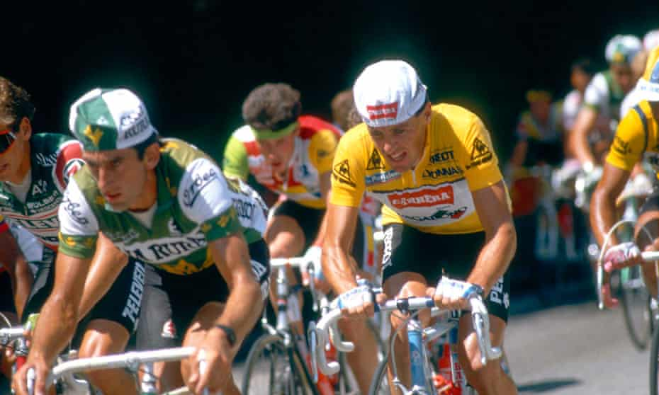 Stephen Roche of Ireland wears the yellow jersey on his way to winning the 1987 Tour de France.