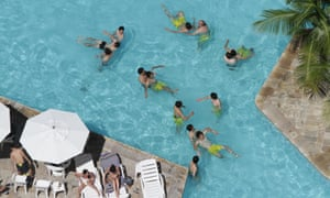 Japan's football players enjoy a regenerative workout in their hotel pool in Recife, northeastern Brazil. They'll face Mexico in the Confederations Cup tournament this weekend.