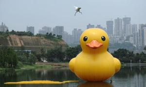 Enemy attack! A giant yellow rubber duck has been installedd at Jiuzhai Water Park, Foshan, China following the rubber duck craze in Hong Kong.