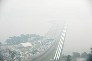 Singapore smog: The causeway from Singapore to Johor Bahru is obscured by haze