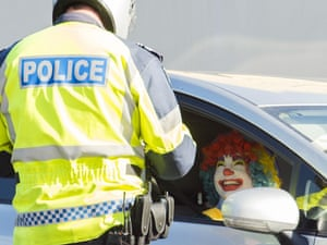 Trying to smile his way out of a ticket a man dressed as a clown is booked for a traffic offence in Melbourne.