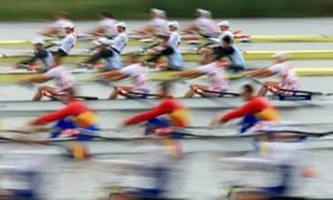 The men's quadruple sculls heat are well under way during the first day of the Samsung World Rowing Cup II at Eton Dorney, England.