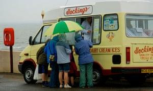 Ice Cream Van in the Rain, Wales, UK