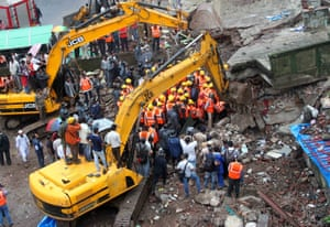 collapsed residential building in Thane district in Mumbai, India