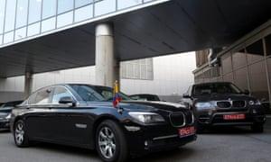Ecuadorean embassy cars at Moscow airport