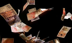 British money, banknotes, currency, cash, notes, pounds falling, dropping
