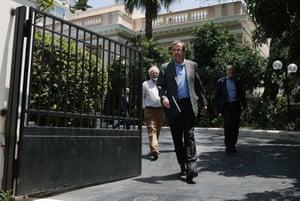 Greece's Prime Minister's Antonis Samaras leaving his office in Athens June 24, 2013