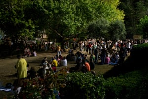 People gather outside the ERT office to show their support, on 24 June.