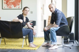 homes - edinburgh house: a man and woman barefoot sitting on chairs and looking at camera