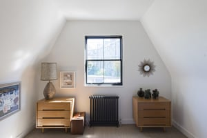 homes - edinburgh house: bedroom with wooden mid-century furniture and white walls