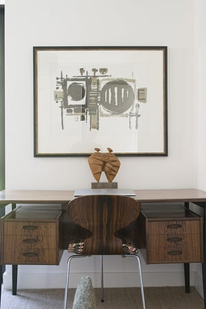 homes - edinburgh house: wooden desk with chair and print on the wall