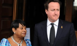 David Cameron alongside Doreen Lawrence, mother of Stephen Lawrence, before a  memorial service at St Martins-in-the-Fields Church in April 2013 for Stephen on the 20th anniversary of his murder.
