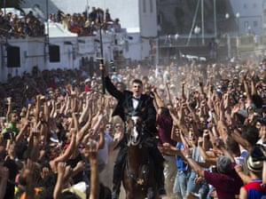 A horseman takes part in the traditional San Juan  festival in the town of Ciutadella, Menorca.