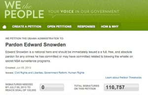 A petition to pardon Edward Snowden had nearly 111,000 signatures as of the morning of 24 June.