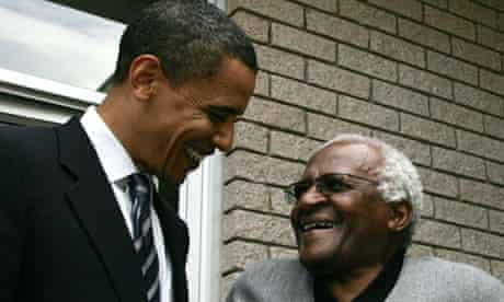 Barack Obama meets Desmond Tutu during a visit to South Africa in 2006