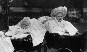 Baby Princes Albert (George VI) and Edward (Edward VIII) in prams circa 1895