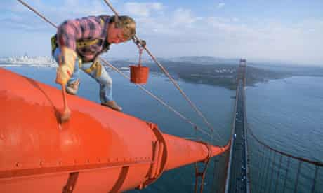 Bridge painters on the Golden gate bridge San Francisco California