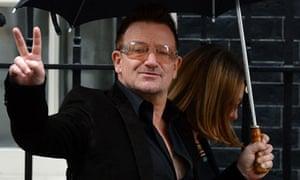 Irish musician Bono arrives at 10 Downin