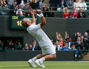 Against all odds: Steve Darcis of Belgium celebrates after defeating Rafael Nadal of Spain in their men's singles tennis match at the Wimbledon Tennis Championships, in London.