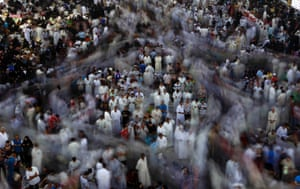 Shiite Muslim worshipers gather outside Imam Hussein shrine during the annual festival of Shabaniyah, which marks the anniversary of the birth of the ninth-century Shiite leader known as the Hidden Imam, in Karbala, Iraq.