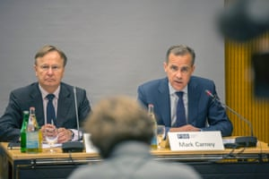 Mark Carney (right) at the Financial Stability Board press conference at the Bank for International Settlements in Basel.  EPA/PATRICK STRAUB