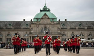 The British army band of the Royal Corps of Signals supported by the German Music School of Bad Oeynhausen during the beating of the retreat spectacle in the grounds of the Kurhaus in Bad Oeynhausen, Germany.
