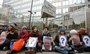 Protesters blockade New Scotland Yard