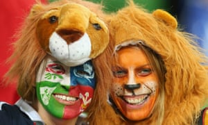 Lions fans before the tour match between the Melbourne Rebels and the British & Irish Lions at AAMI Park in Melbourne, Australia.
