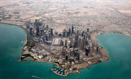 An aerial of Doha's diplomatic area