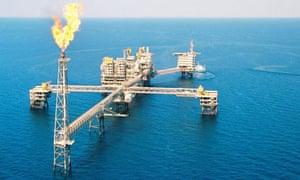 A gas platform at Al-Shamal gas field north of Qatar
