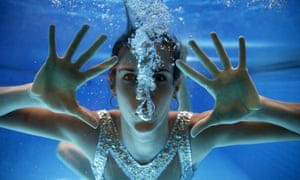 Spanish synchronized swimmer Ona Carbonell during her team's training session at Madrid's 86 aquatic centre in Madrid, central Spain.