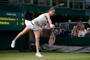 Magdalena Rybarikova of Slovakia serves during her Ladies' Singles first round match against Barbora Zahlavova Strycova of Czech Republic on day two of the Wimbledon Lawn Tennis Championships at the All England Lawn Tennis and Croquet Club in London.