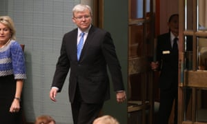 The member for Griffith Kevin Rudd arrives for a division in the House of Representatives this morning. The Global Mail.