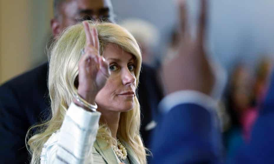 Senator Wendy Davis votes against a motion to call for a rules violation during her filibusters of an abortion bill. Photograph: AP Photo/Eric Gay