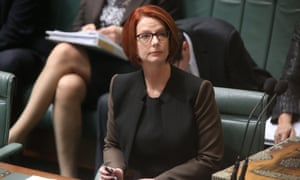 The Prime Minister Julia Gillard takes her seat in the House of Reps chamber in Parliament House. The Global Mail.