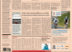 Financial Times Front Page, June 26 2013