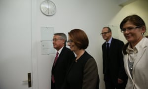 Wayne Swan, Julia Gillard and Kate Lundy arrive for the caucus vote. The Global Mail.