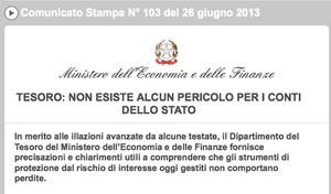 Italian treasury statement on derivative contracts, June 26