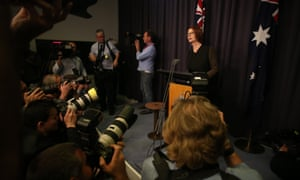 The former Prime Minister addresses the media this evening in Parliament House. The Global Mail.