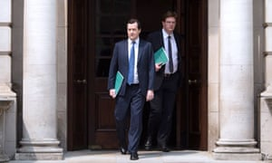 George Osborne and Danny Alexander leave the Treasury