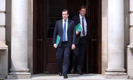 George Osborne and Danny Alexander leave the Treasury