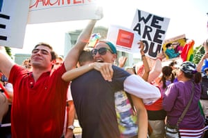 Gay marriage : Gay rights supporters react to the news outside the Supreme Court in Washin