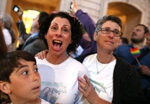 Gay : Couple Sue Rochman and Robin Romdalvik with their son Maddox Rochman-Romdal
