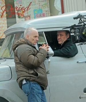 David Chase and James Gandolfini on a film set in 2011.